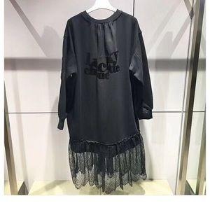 Korea Lucky Chouette black long hoodie dress